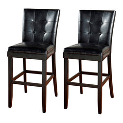 American Heritage - American Heritage Apollo Stool in Black - 30 Inch (Set of 2) - The designer back of the Apollo counter or bar stool is what makes this stool stand out above the rest. The solid wood frame is finished in brown and complimented by the black upholstery with four buttons in the back.