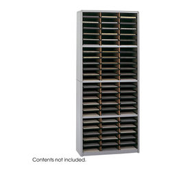 "Safco - Value Sorter Literature Organizer, 72 Compartment - Grey - Value Organization! To organize effectively you need the right tools for the right space. The Value Sorter will improve neatness and is a great addition to any mail room, office, school or store. Use compartments as a mailbox, material holder or stationary sorter. The steel shell comes complete with support shelves and a solid fiberboard back to ensure stability and durability. Compartments are formed with heavy-duty corrugated fiberboard. Unit has over-sized compartments that comfortably hold up to 550 sheets of letter-size paper. Compartments are wide enough to easily accommodate letter-size file folders. Wide shelf fronts have built-in label holders (labels included).; Features: Material: Steel (shell, support shelves), Corrugated Fiberboard (shelves); Color: Grey; Finished Product Weight: 59 lbs.; Assembly Required: Yes; Tools Required: Yes; Limited Lifetime Warranty; Dimensions: 32 1/4""W x 13 1/2""D x 75""H"