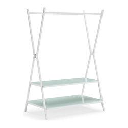 Zuo Modern - Zuo Xert Coat Shelf in White - Coat Shelf in White belongs to Xert Collection by Zuo Modern Organize the modern way with the Xert coat shelf. The sturdy metal frame with tempered glass shelving helps organize tastefully in any room. Coat Shelf (1)