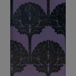 Black & Purple Trees Velvet Flocked Wallcovering - I love velvet-flocked wallpaper. This stylish pattern is so in this season.