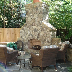 Natural Thin Stone Outdoor Fireplaces & Fire Pits -