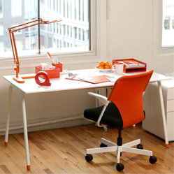 Flatiron Desk, Orange Accents - A desk so dreamy it's like working on a cloud.