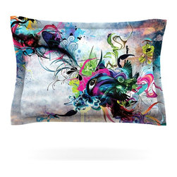 """Kess InHouse - Mat Miller """"Streaming Eyes"""" Multicolor Abstract Pillow Sham (Woven, 30"""" x 20"""") - Pairing your already chic duvet cover with playful pillow shams is the perfect way to tie your bedroom together. There are endless possibilities to feed your artistic palette with these imaginative pillow shams. It will looks so elegant you won't want ruin the masterpiece you have created when you go to bed. Not only are these pillow shams nice to look at they are also made from a high quality cotton blend. They are so soft that they will elevate your sleep up to level that is beyond Cloud 9. We always print our goods with the highest quality printing process in order to maintain the integrity of the art that you are adeptly displaying. This means that you won't have to worry about your art fading or your sham loosing it's freshness."""