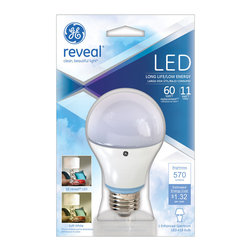 69204  LED11DA19RVL/TP GE LED11DA19RVL/TP - •GE reveal® LED light bulbs are engineered to filter out dingy yellow tones to illuminate a color enhanced spectrum of light; Provides instant brightness with no delay; Semi-omnidirectional light output of 220 degrees.