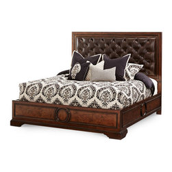 AICO Furniture - Bella Cera Eastern King Panel Bed with Leather Tufted Headboard -