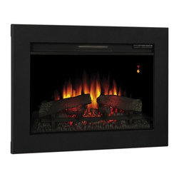 "ClassicFlame - ClassicFlame 26-In SpectraFire Fireplace Insert & Flush Mount Conversion Kit - The ClassicFlame 26"" Landscape Electric Fireplace Insert features all LED technology, upgraded realistic logs and ember bed. This energy efficient electric fireplace has a black frame, glass front face and digital thermostat with numerical readout. The Classic Flame 26"" SpectraFire Plus Electric Fireplace Insert features a 5 color options, 5 speed levels and 5 brightness settings, multi-function remote control and 1 year warranty."