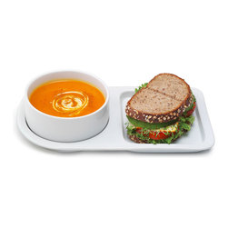 Inova Team -Modern White Ceramic Tray - Set of 2 - Nestling cozily on its sandwich tray, this soup bowl helps you indulge your comfort food cravings. Perfectly sized to serve up tomato soup and a grilled cheese sandwich, this ceramic combo lets you end the precarious balancing act of enjoying your favorite quick and comfy meal. Safe for use in the oven, microwave and dishwasher, the simple white serving pieces are always ready for those relaxed rainy day meals.
