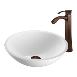 VIGO Industries - VIGO Flat Edged White Phoenix Stone Glass Vessel Sink, Oil Rubbed Bronze - The VIGO Flat Edged White Phoenix Stone Glass Vessel Sink with Oil Rubbed Bronze Faucet will bring to your home a new kind of traditional design
