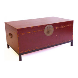 Gingko - Country Book Trunk, Large, Red - How about a stylish trunk show for your room? Inspired by traditional Chinese book trunks, the large box with hinged lid comes in your choice of distressed red or black, features aged brass hardware and sits on a simple black metal base.