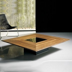 Modloft - Fitzroy Coffee Table   Modloft - Made in Brazil by Modloft. The Fitzroy Square Coffee Table features a unique table top surface, combining a polished veneer table top with square lacquer center and wood legs. Available in a variety of veneer/lacquer options.