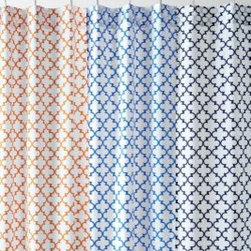 Garnet Hill - Garnet Hill Everyday Tile Shower Curtain - Now you can enjoy the classic, easy-to- work-with look of tiles on your shower curtain even if your shower walls and floors are not tiled. Buttonholes at the top for hanging. 200 thread count combed long-staple cotton. Liner is sold separately. Size 72 in. x 72 in.