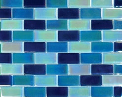 Tilesbay.com - Sample of Crystallized Brick Iridescent Blue Pattern Glass Tile - Brick Iridescent Blue 1x2x8mm  Pattern Crystallized Mosaic Tiles for Bathroom Floor, Kitchen Backsplash. These stunning mosaics are mesh-mounted and give a unique and dramatic effect. This tile can be used alone or as a gorgeous complement to ceramic and natural stone materials. Please keep in mind that a typical size of sample is 4x4 or 6x6.