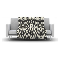 "Kess InHouse - Amanda Lane ""Black Cream Tribal Ikat"" Tan Dark Fleece Blanket (90"" x 90"") - Now you can be warm AND cool, which isn't possible with a snuggie. This completely custom and one-of-a-kind Kess InHouse Fleece Throw Blanket is the perfect accent to your couch! This fleece will add so much flare draped on your sofa or draped on you. Also this fleece actually loves being washed, as it's machine washable with no image fading."