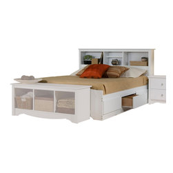 Prepac Furniture - Prepac Monterey Platform Storage Bed with Bookcase Headboard in White - Six spacious drawers (three per side for each occupant) in the Monterey Platform Storage Bed with Bookcase Headboard in White - Prepac Furniture are ideal for storing bed linens and clothes. Imagine, 6 large extra deep drawers in your bedroom even before you add in your night tables or any chest or dressers!    This price is for Double Size Bed with Headboard.  Queen Bed size is also available.