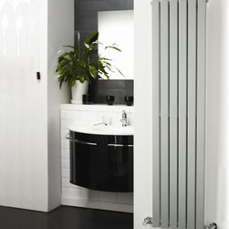 Hudson Reed - Silver Vertical Flat Panel Designer Radiator 63 x 14 & Valves - Six vertical panels, finished in superior matt silver powder coat (RAL 9043), make this radiator a striking design feature of any contemporary living space. The vertical panels deliver an impressive heat output of 980 Watts (3345 BTUs).Stylish and effective, this modern classic connects directly into your domestic central heating system by means of the reliable radiator valves included.Silver Vertical Flat Panel Designer Radiator 63 x 14 Features   Dimensions (H x W x D): 63 (1600mm) x 14 (354mm) x 2.15 (55mm) Output: 980 Watts (3345 BTUs) Pipe centres with valves: 17 (430mm) Number of panels: 6 Fixing Pack Included Designed to be plumbed into your central heating system Suitable for bathroom, cloakroom, kitchen etc. Weight: 38.6 lbs (17.5kg) Please note: Angled radiator valves included. Please note: This Designer Radiator is supplied with vertical mounting brackets only, it cannot be fitted horizontally with the fixings included Please Note: Our radiators are designed for forced circulation closed loop systems only. They are not compatible with open loop, gravity hot water or steam systems.