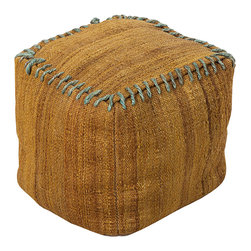Jute Mustard Pouf - Striated jute cloth dyed a rich burlap gold provides the soft walls of this simple accent furnishing, the Jute Mustard Pouf.  When natural finishes or freeform shapes are important to your personal style, this piece complements them; if, on the other hand, your look is largely traditional, this stitched pouf is an ideal selection for adding a traveled, eloquent air to a room.