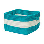 "Colonial Mills, Inc. - Rope Walk, Turquoise Utility Basket, 18""X12"" - Made in an old New England mill town, these 100 percent polypropylene baskets are an ideal storage solution for any room. Pretty and oh-so-practical, they're tough enough to take on anything you toss in them, from logs to toys to pool towels."