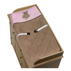 """Sweet Jojo Designs - Teddy Bear Pink Changing Pad Cover - The Teddy Bear Pink changing pad cover will help complete the look of your Sweet Jojo Designs nursery. This changing pad cover can be used with standard or contoured changing pads up to 17"""" X 31"""". It also has elastic edges for a tailored, snug fit."""