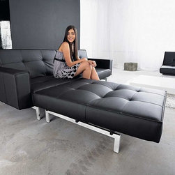 Splitback Stainless Steel Sofa Sleeper with Arms - Innovation - Create a modern look with the Innovation Splitback convertible sofa; part of Innovation's IStyle Collection combining pop style with modern function. Designed in Denmark by Per Weiss, the Split Back convertible sofa is versatile as well as trendy. Available in Black or White leather textile, and in Mixed Dance Burned Orange or Begum Dark Brown fabric