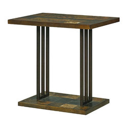 Hammary - Hammary Amelio Accent Table w/ Natural Slate Top & Blackened Steel Base - - 373-916.  Product features: Belongs to Amelio Collection by Hammary; Natural Slate; Blackened Steel Base; Rectangular Table Top Shape. Product includes: Accent Table (1). Accent Table w/ Natural Slate Top & Blackened Steel Base belongs to Amelio Collection by Hammary.