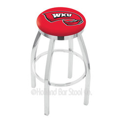 "Holland Bar Stool - Holland Bar Stool L8C2C - Chrome Western Kentucky Swivel Bar Stool - L8C2C - Chrome Western Kentucky Swivel Bar Stool w/ Accent Ring belongs to College Collection by Holland Bar Stool Made for the ultimate sports fan, impress your buddies with this knockout from Holland Bar Stool. This contemporary L8C2C logo stool has a single-ring chrome base with a 2.5"" cushion and a chrome accent ring that helps the seat to ""pop-out"" at glance. Holland Bar Stool uses a detailed screen print process that applies specially formulated epoxy-vinyl ink in numerous stages to produce a sharp, crisp, clear image of your desired logo. You can't find a higher quality logo stool on the market. The plating grade steel used to build the frame is commercial quality, so it will withstand the abuse of the rowdiest of friends for years to come. The structure is triple chrome plated to ensure a rich, sleek, long lasting finish. Construction of this framework is built tough, utilizing solid mig welds. If you're going to finish your bar or game room, do it right- with a Holland Bar Stool. Barstool (1)"