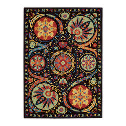 """Nourison - Nourison Suzani SUZ04 8'"""" x 10'6"""" Black Area Rug 13982 - A spectacular effect is created by bold orbs of fascinating floral shapes in bright colors that bloom on a field of dreamy midnight black. Movement and life are expressed in the details of this unique and exceptional design. The handmade texture of its cut and loop pile adds another visual dimension and a charming folk-art appeal."""