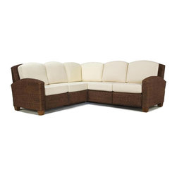 Home Styles - Home Styles Cabana Banana L-Shape Sectional Sofa in Cocoa - Home Styles - Sectionals - 540262 - Cabana Banana L shape sectional sofa features frames and fabric that are made of 100% sustainable natural materials. Frame is hand woven of natural banana leaves with no harmful additives in a cocoa finish. The furniture legs are made of natural renewable wood. Cushions are cotton twill in Ecru color.