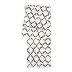 Blue Embroidered Trellis Custom Table Runner - Get ready to dine in style with your new Simple Table Runner. With clean rolled edges and hundreds of fabrics to choose from, it's the perfect centerpiece to the well set table. We love it in this blue trellis crewel embroidered on natural cotton for a look that's classic with a touch of casual.