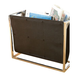 Magazine Caddy - Black Leather - Provide guests with reading material and keep your selection of crossword puzzles or inspirational spreads near to hand in the Black Leather Magazine Caddy. Constructed with perfect simplicity for transitional versatility and pure function, the stylish magazine rack consists of a polished silver-tone metal frame equipped with an inner sling of stitched leather in chic, blendable black.