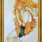 """Egon Schiele-16""""x24"""" Framed Canvas - 16"""" x 24"""" Egon Schiele The Green Stocking framed premium canvas print reproduced to meet museum quality standards. Our museum quality canvas prints are produced using high-precision print technology for a more accurate reproduction printed on high quality canvas with fade-resistant, archival inks. Our progressive business model allows us to offer works of art to you at the best wholesale pricing, significantly less than art gallery prices, affordable to all. This artwork is hand stretched onto wooden stretcher bars, then mounted into our 3"""" wide gold finish frame with black panel by one of our expert framers. Our framed canvas print comes with hardware, ready to hang on your wall.  We present a comprehensive collection of exceptional canvas art reproductions by Egon Schiele."""
