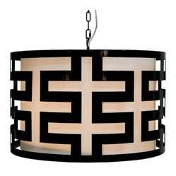 Worlds Away - Worlds Away Hicks Black Lacquer Greek Key Pendant - Geometric midcentury modern style is yours when you hang this polished black lacquer pendant in your home. The greek key pattern of this elegant shade will wow you, and the glow the light gives off will warm your whole room.