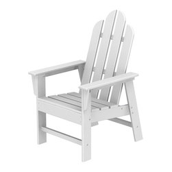 Polywood POLYWOOD® Long Island Chair in White - Relax and enjoy Bring the easy comfort of a day at the beach to your outdoor living area with the stylish and sustainable Long Island Chair inspired by the classic Northeast Adirondack with a twist of modern design. You don't need a house in the Hamptons to create your own breezy get away with these classically styled pieces constructed from HDPE material – an incredibly durable material made from post-consumer bottle waste, such as milk and detergent bottles. Solidly constructed with stainless steel hardware, these pieces will stand the test of time and can withstand the elements with very little maintenance.  The Long Island Chair will not absorb moisture and requires no waterproofing, painting or staining to maintain their bright color for years. The colors are blended into the material all the way through, and are UV-resistant. Minimal assembly is required.  Dimensions: 26.5W x 29D x 42.5H   Care: Wash with mild soap and water. They can be power washed at pressures below 1,500 PSI.   Please allow 2-3 weeks to ship.