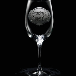"Crystal Imagery, Inc. - Grandma's Sippy Cup Wine Glass Set of Stemware - Engraved Grandma's Sippy Cup Wine Glass is a special gift for a new grandmother for Mother's Day, birthday or any occasion. Grandma spends lots of time with her grandchildren and so deserves her very own sippy cup as well. Deeply carved using our sand carving technique, each wine glass is meticulously custom made to order making it the perfect gift for those seeking unique gift ideas for wine lovers - men and women alike. At 9"" high by 3.5"" wide, our wine glasses hold 19 oz. A set of these etched wine glasses will be the favorite gift at any special gift giving occasion. Dishwasher safe. SOLD AS A SET OF 4."