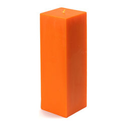 "Jeco - 3 x 9"" Orange Square Pillar Candle - Large 9 inch square pillar candles are a must for events such as housewarmings and weddings. Smokeless and Dripless. Perfect for indoor or outdoor events. These unscented pillars burn exceptionally long and have solid color all the way through. PLEASE NOTE: Actual color may differ from the color shown in the image(s) due to monitor displays.; Features: Color: Orange; 100% Handpoured; Unscented; Size: 3"" L x 3"" W x 9"" H; Burn Time: 110 Hours"