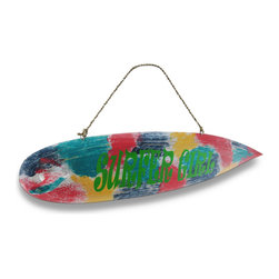 "Zeckos - Colorful ""Surfer Girl"" Wooden Surfboard Wall Hanging - This surfboard wall sign is the perfect decoration for sand and surf lovers This hand-carved miniature wooden surfboard features a vibrant and colorful hand-painted tie-dye inspired design on the underside of the board and is great to hang on the walls in bedrooms or dorm rooms and features Surfer Girl printed across the center in a big bold design Not just for rooms, this 19 inch long, 5 1/4 inch high, 2 3/4 inch deep decorative sign can be hung by its attached rope hanger on cabanas, doors or even in the window for all to see"