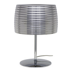 Nuevo Living - Chromium Table Lamp - Shine on! This brilliant table lamp boasts a shade of electro-plated glass that gleams when off yet becomes translucent when on. What an artful way to bring light to your home — and your life.
