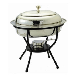 Old Dutch International - Oval Chafing Dish in Stainless Steel Finish - Includes wrought iron stand. Made from stainless steel. Chrome plated. 16.50 in. L x 12.50 in. W x 18 in. H (16 lbs.)6 Qt. oval polished nickel chafing Dish.  6 Qt. Stainless steel food pan is oven safe to 350F, water-bath design keeps food at the perfect serving temperature without drying out.