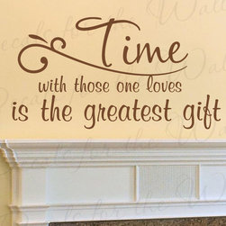 Decals for the Wall - Wall Decal Sticker Quote Vinyl Art Time with Those One Loves Family Love F84 - This decal says ''Time with those one loves is the greatest gift''