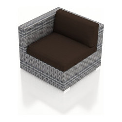 Harmonia Living - Urbana Outdoor Modern Left Arm Chair, Weathered Stone Wicker, Coffee Cushions - The Urbana Outdoor Wicker Left Arm Facing Chair with Brown Sunbrella Cushions (SKU HL-URBNWS-LAS-CO) is the perfect starting or end point for building your own stylish Urbana Sectional. Made with High-Density Polyethylene (HDPE) wicker, a fade-resistant color is designed to withstand the elements. The section is constructed with a sturdy, thick-gauged aluminum frame, protected with a powder coating for even greater corrosion resistance. The seats are also reinforced to provide support and prevent excessive wicker stretching from repeated use. Both seat and back cushions are included, with your choice among four fade- and mildew- resistant Sunbrella fabric options.