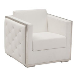 Boxer Chair, White - http://www.highfashionhome.com/boxer-chair-white.html