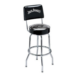 "Jack Daniel's Lifestyle Products - Swivel Label Barstool With Backrest - Sit back and enjoy your favorite Jack Daniel's cocktail while sitting on your very own Jack Daniel's Swivel Label Barstool! Constructed from a heavy gauge 1"" tubular steel frame with a lustrous chrome plated finish, this Jack Daniel's barstool is built to last! The classic Jack Daniel's graphics are screen printed on the underside of the commercial grade vinyl seat, so the design will not scratch or wear off with use. Also available without a backrest, this Jack Daniel's barstool is the perfect addition to your home bar! Features: -Seat height is 30"". -Backrest & 360 swivel. -Frame is 1"" tubular steel. -Frame features chrome plated finish. -Commercial grade vinyl seat. -Easy assembly required."