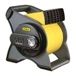 Lasko Products - Stanley Pivoting Utility Fan - Stanley multi-purpose pivoting utility fan. Quiet, high velocity power packed with features: three powerful speeds circuit breaker with re-set button.  Rugged, easy-to-carry handle.  Comes fully assembled and ready to work.  Two 120 Volt grounded outlets for accessory use.  ETL listed.  Includes a patented, fused safety plug use in tight spaces where fresh air is essential.  Work spaces, attics, basements, and garages.  Use in the home to dry carpets, floors, furniture, and walls.  Pivoting blower head blasts air where needed.