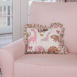 Pink Animal Parade Crib Bedding - Pillow front in Ana's Zoo fabric, with reverse side in Brown and Pink Daisies. Edged with ruffle in Ana's Floral.