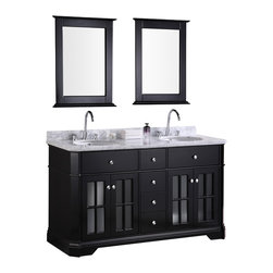 "Design Element - Design Element Imperial 60"" Espresso Modern Double Sink Vanity Set - The Imperial vanity set has a quaint, homesteading look with its beveled cabinet edges, Victorian-inspired 4-lite window frames, rounded satin-nickel finish hardware, and marble countertop. Yet, it also fits in a more contemporary bathroom thanks to its straight lines, smooth crown, and subtle plinths. We call this look ""transitional"" - which is not so much an identity crisis as it is a coherent combination of the best of both worlds. The result is an execution in elegance and class, one that's compatible with a wide range of bathroom styles and home decor.Quality materials and thoughtful utility underlie the good looks of the vanity. Solid hardwood is the basis for both the frame and the panels of the vanity, with a water-resistant coating on the panels for durability. The countertop is made of white carrera marble, and frames the two round under-mount sinks equipped with polished chrome pop-up drains. Four functional drawers and two soft-closing double-door cabinets hold all your bathroom essentials, and matching framed mirrors rounds out this vanity set package."