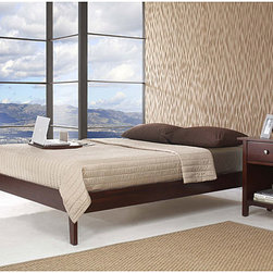 Domusindo - Tapered Leg California King-size Platform Bed - Minimalist modern California king platform bed looks great against a wall or floating in any bedroom. Built from sustainably harvested solid mahogany and finished in a rich cordovan tone,this deceptively simple design makes a bold statement.
