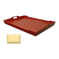 Tradewinds - Forged Mahogany Serving Tray, Yellow - The Chedi Serving Tray is handmade from plantation grown and forged mahogany and mindi as well as premium hardwood veneers. It is available in different stain options, and a classic hand-rubbed rain water white finish.