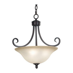 Kenroy Home - Kenroy 80474ORB Welles 3 Light Semi-Flush - Bell shaped frosted glass shades balance delicately on sweeping curves.  Welles has the silhouette of an open flower centered by a tiered bottom plate and is available in Brushed Steel or Oil Rubbed Bronze finish.