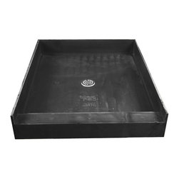 """Tile Redi - Tile Redi 4837C-PVC 48"""" D x 37"""" W Single Curb Shower Pan with Center PVC Drain - 48"""" Depth x 37"""" Width Single Curb Tile Redi Shower Pan with Center PVC Drain. 4.25"""" H Curb on the 37"""" W front side. Depth measured from the front of the entrance to the outside of the back splash wall. The shower pan includes a round adjustable polished chrome (stainless) drain plate, and Redi Poxy Epoxy Tile Setting Adhesive to tile the surface of the shower pan. The Redi Base is fabricated as a one-piece, leak proof shower pan - and comes pre-pitched for perfect water drainage. Shower pans are made out of a rugged polyurethane with ribs underneath for added strength. Each shower pan is tile ready, meaning you can set tile directly on the surface of the shower pan with no additional waterproofing. Tile Redi Shower Pans are easy to install whether you are a contractor or do-it-yourselfer, and a 1/8"""" Trowel can be used during installation depending on the tile, marble, or stone being used. In addition, all Tile Redi shower pans comply with all national and local plumbing codes and are UL listed."""