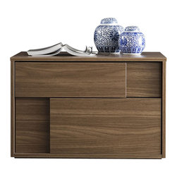 Rossetto - Square Left Nightstand in Walnut by Rossetto USA - Features: