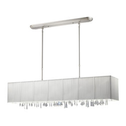 Five Light Brushed Nickel Nylon White Shade Island Light - Beautiful white ribbons surround this elegant rectangular fixture, which is suspended from telescoping finished in brush nickel hardware, to ensure the perfect height. In contrast, solid glittering crystals hang from the bottom of this fixture to add additional beauty to an already beautiful fixture.
